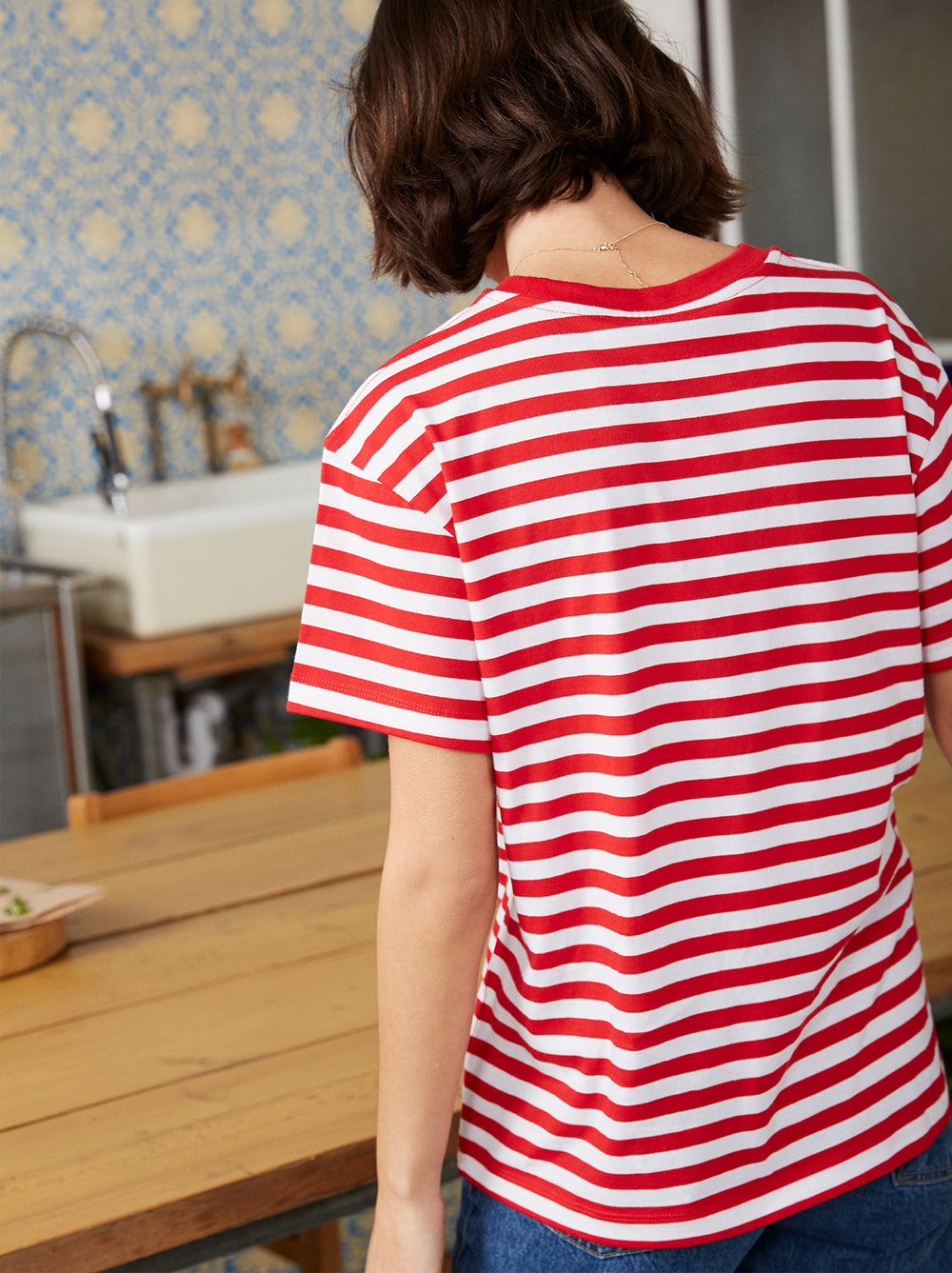 Tutta Frutta Red Striped Cotton Short Sleeve T-shirt by KITRI Studio