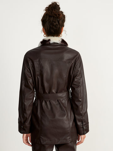 Victoria Brown Faux Leather Jacket by KITRI Studio