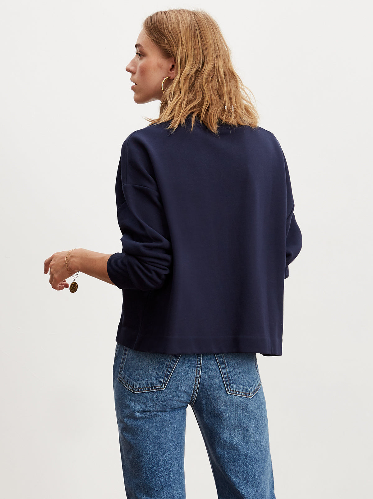 W Embroidered Navy Cotton Sweatshirt by KITRI Studio