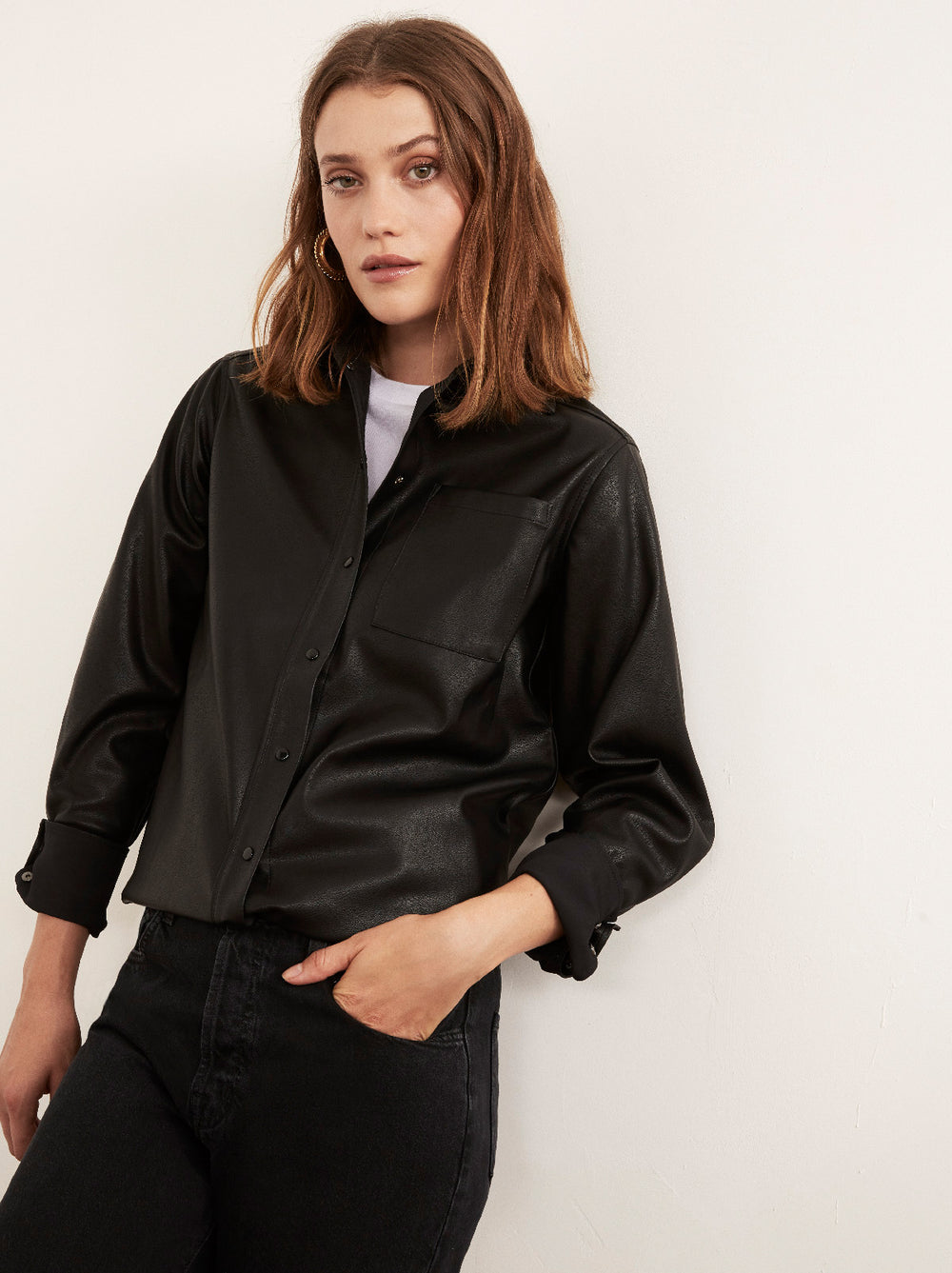 Willow Black Faux-Leather PU Shirt Jacket by KITRI Studio