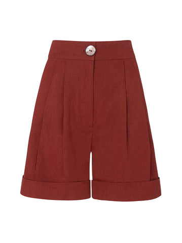 Wren Brick Linen Shorts by KITRI Studio