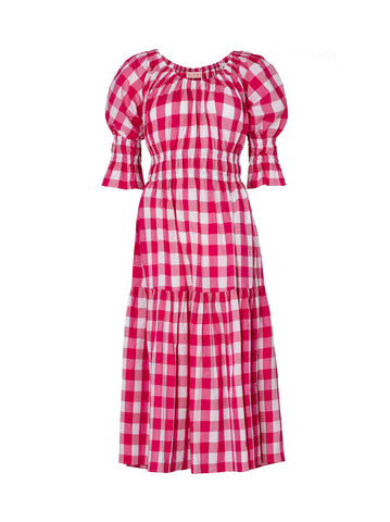 Margot Pink Check Midi Dress