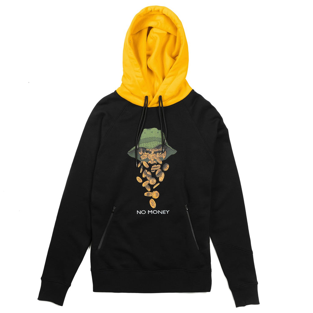 BITCOIN 'NO MONEY' BLACK & YELLOW HOODIE