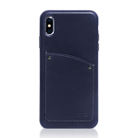 EXQUISITE | Vintage Leather Hard Shell Case for iPhone XS Max - Navy Blue