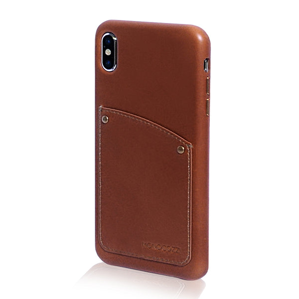 EXQUISITE | Vintage Leather Hard Shell Case for iPhone XS Max - Tan