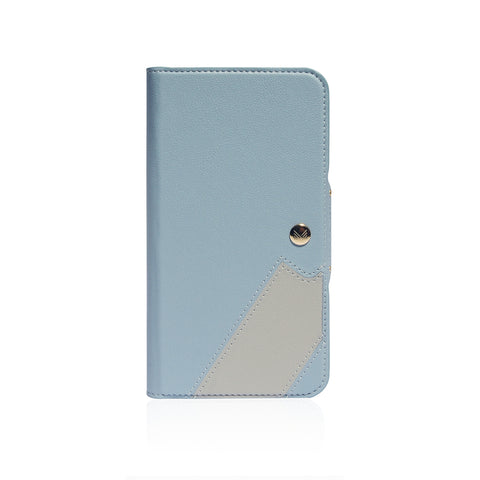 Lucid Folio|Premium Vegan Leather Wallet with detachable Snap-on Back cover - Blue