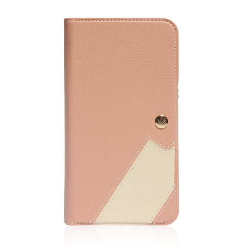 Lucid Folio|Premium Vegan Leather Wallet with detachable Snap-on Back cover - Coral