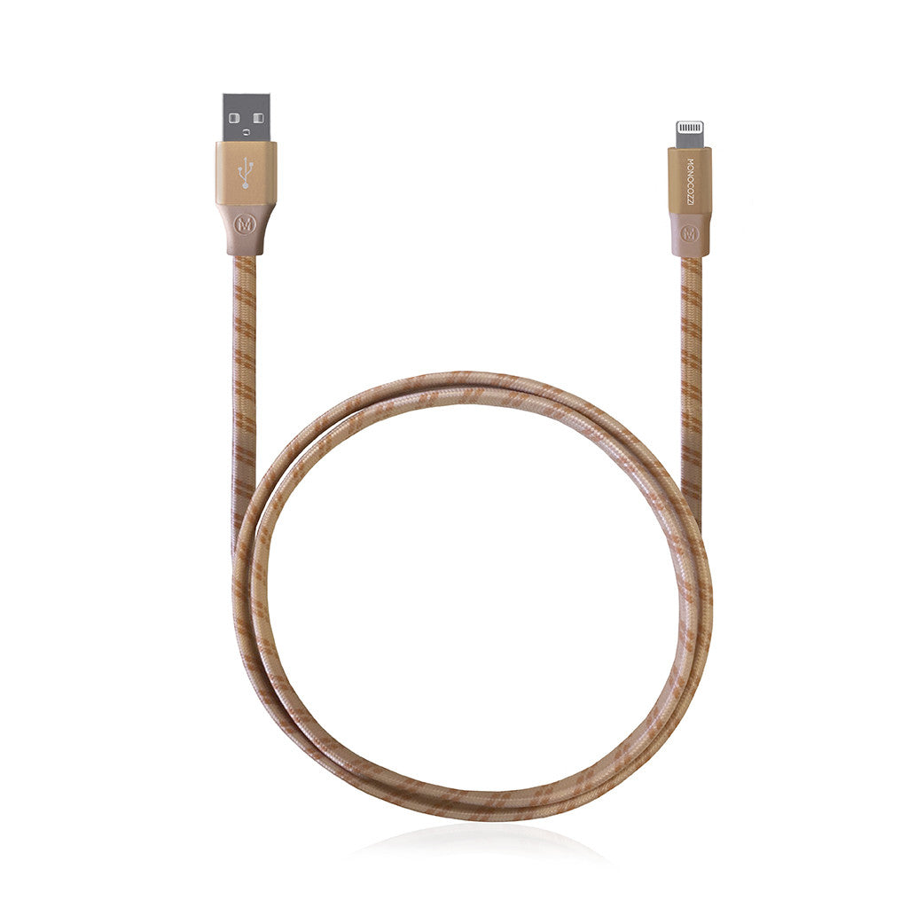 MOTIF | Apple Certified Braided USB Sync and Charge Flat Lightning Cable - 100cm - Gold
