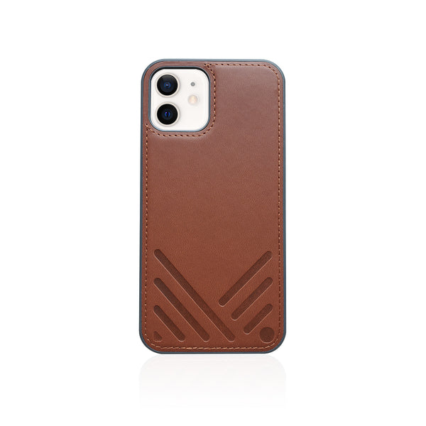 POSH|Shockproof Vegan Leather Back Case for iPhone 12 - Tan Brown