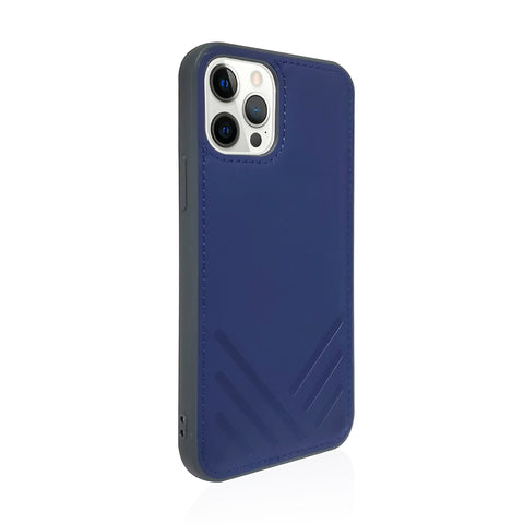 POSH|Shockproof Vegan Leather Back Case for iPhone 12 - Navy Blue
