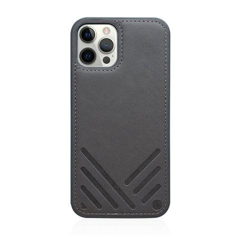 POSH|Shockproof Vegan Leather Back Case for iPhone 12 - Charcoal Grey