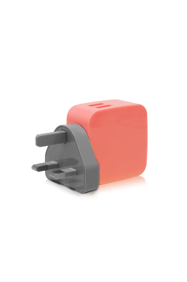 SMIGHTY | 4.8A Dual USB Wall Charger with interchangeable multinational connectors - Coral