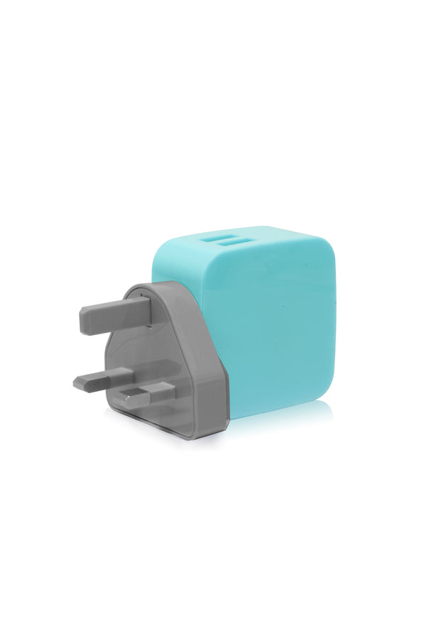 SMIGHTY | 4.8A Dual USB Wall Charger with interchangeable multinational connectors - Blue