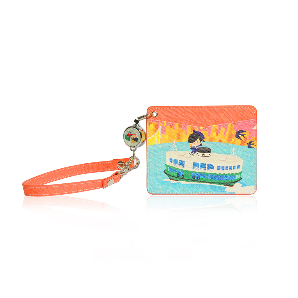 Little Lon x MONOCOZZI | Name Card Holder with Retractable Strap - Ferry