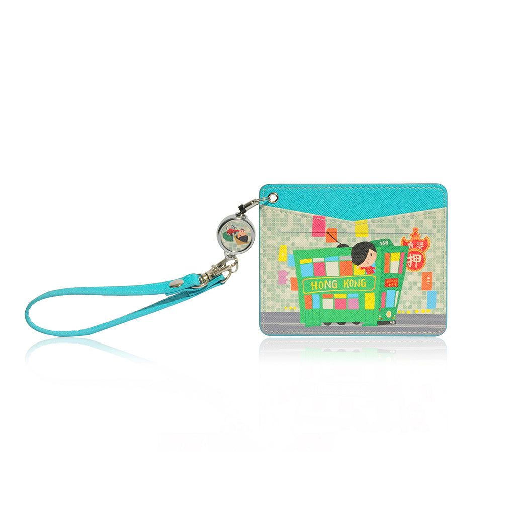 Little Lonx MONOCOZZI | Name Card Holder with Retractable Strap - Tram
