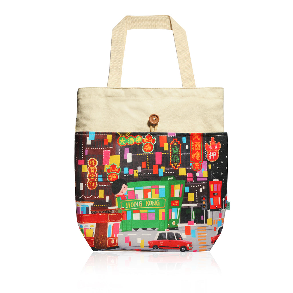 Little Lon x MONOCOZZI | Canvas Tote Bag - Hong Kong Tram