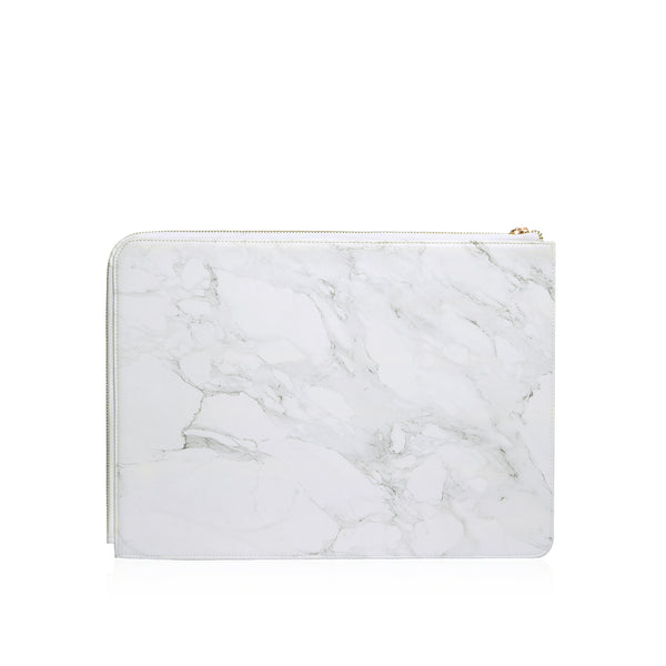 Posh | Ultra Slim Vegan Leather Sleeve for MacBook Pro w/USB-C - Marble White
