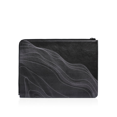 Posh | Ultra Slim Vegan Leather Sleeve for MacBook Pro w/USB-C - Wave Black