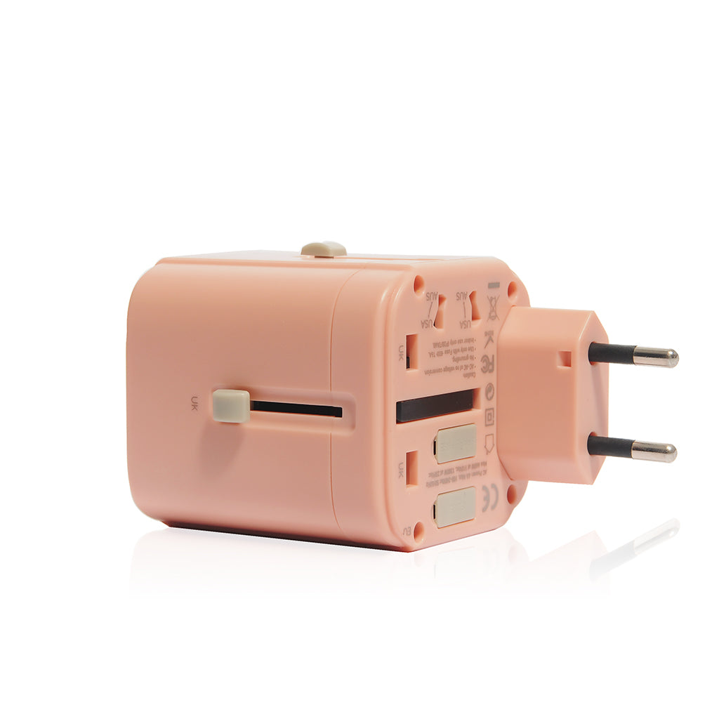 Bon Voyage | Travel Adaptor with 4.5A Dual USB and USB-C connector - Coral