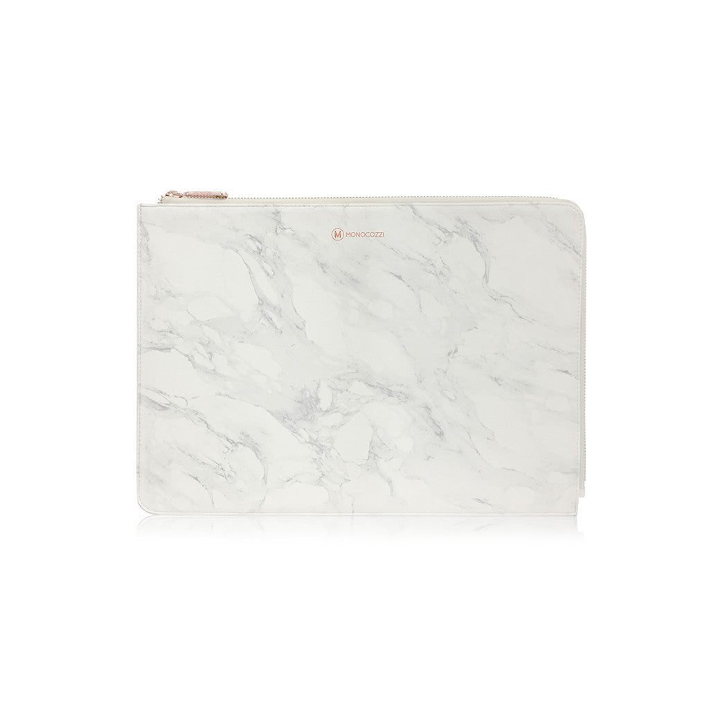 POSH | Ultra Slim Faux Leather Sleeve for MacBook Pro w/USB-C  - Marble White