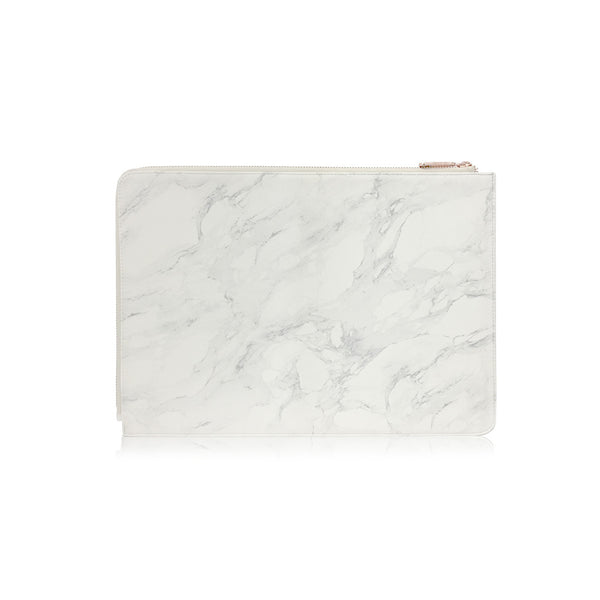 POSH | Ultra Slim Faux Leather Sleeve for MacBook Pro(2019) w/USB-C  - Marble White