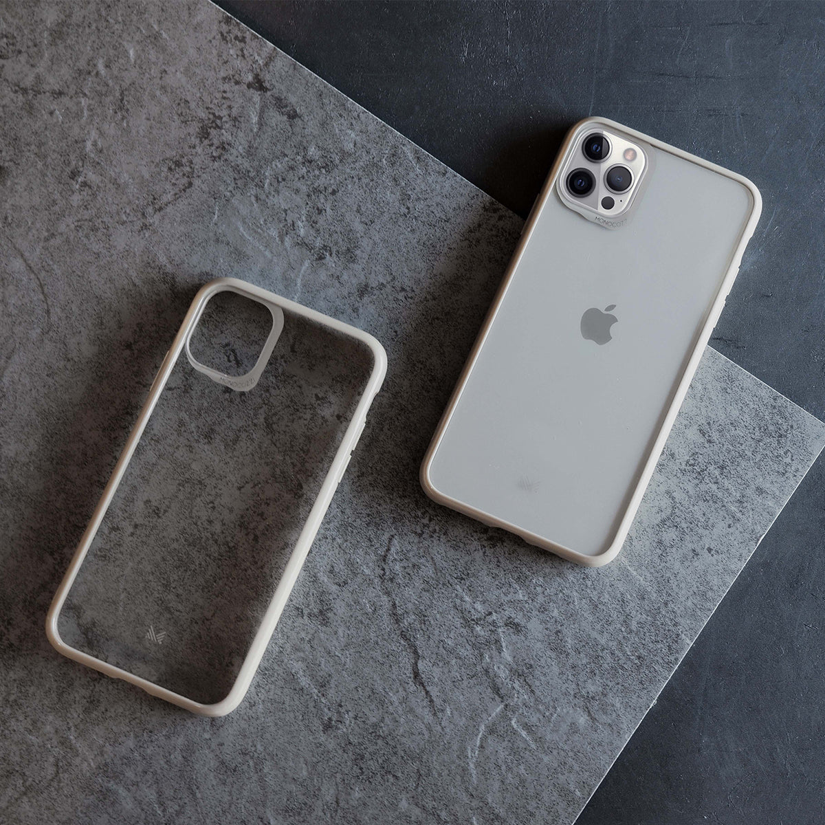 LUCID|Acrylic Back Cover with Hybrid TPU Bumper for iPhone 12 - Beige