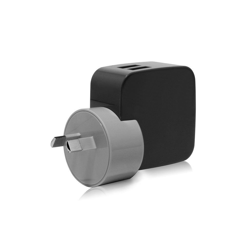 SMIGHTY | 4.2A Dual USB Wall Charger with interchangeable multinational connectors - Black