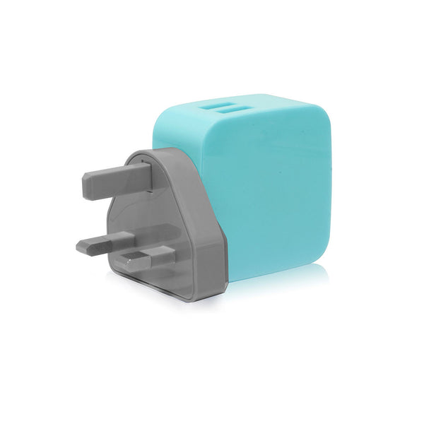 SMIGHTY | 4.2A Dual USB Wall Charger with interchangeable multinational connectors - Blue