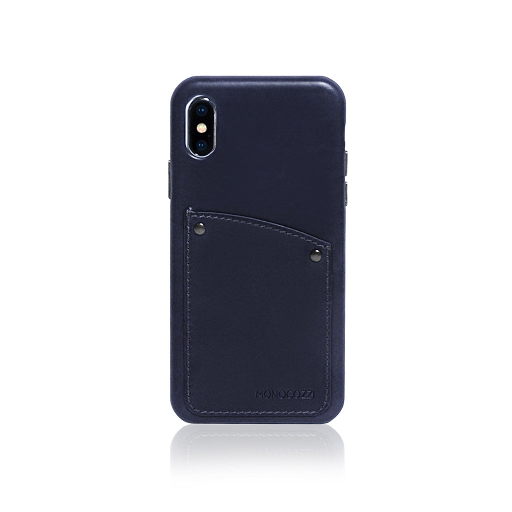 EXQUISITE | Vintage Leather Hard Shell Case for iPhone XS - Navy Blue