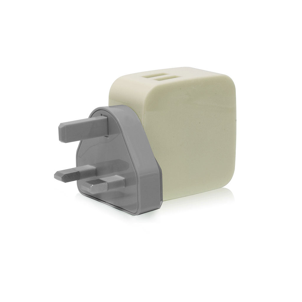 Smighty | 4.2A Dual USB Wall Charger with interchangeable multinational connectors - Khaki