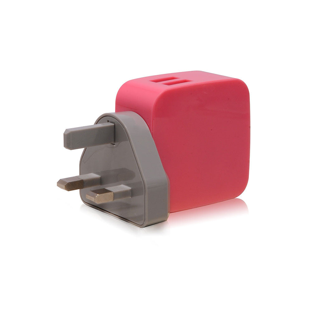 Smighty | 4.2A Dual USB Wall Charger with interchangeable multinational connectors - Pink