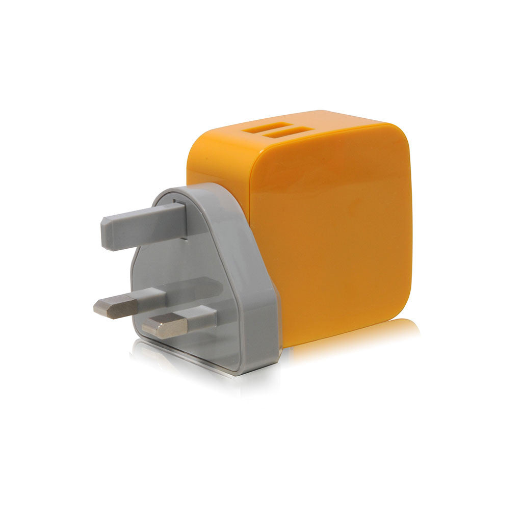 Smighty | 4.2A Dual USB Wall Charger with interchangeable multinational connectors - Yellow