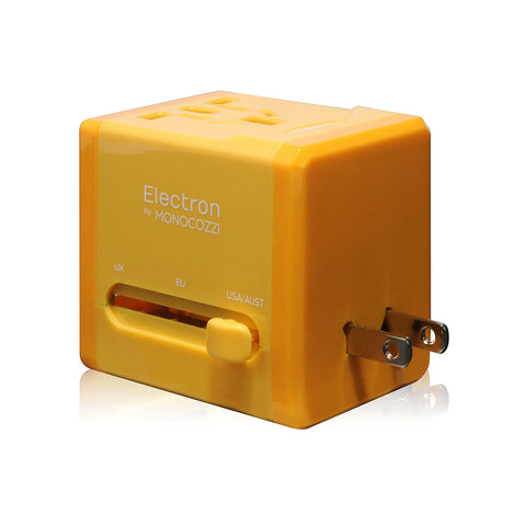 SMIGHTY | Global Adaptor with 2.1A Dual USB connectors (glossy) - Yellow