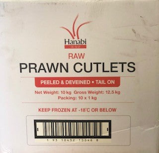Prawn Cutlets Raw 26/30 1kg Tail On (Peeled & Deveined) Hanabi