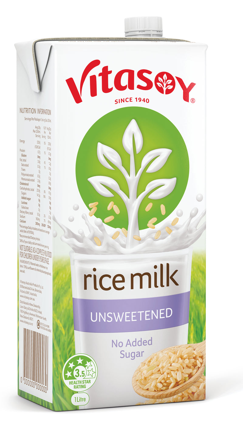 Vitasoy Rice Milk Original U H T 12 x 1lt Case