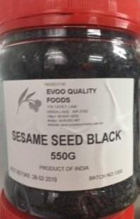 Sesame Seeds Black 550g Tub EVOO QF