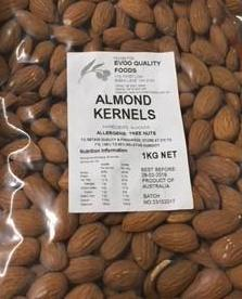 Almonds Whole Skin On 1kg Bag EVOO QF