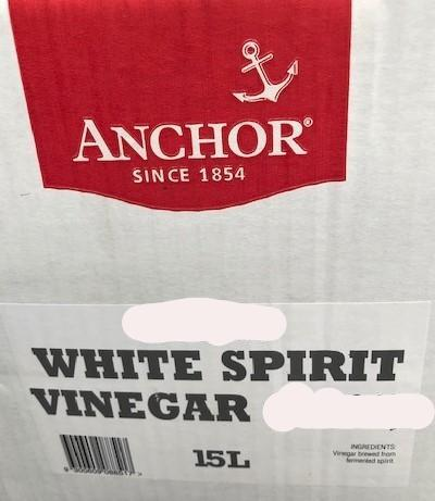 White Spirit Vinegar 4% (08848) 15lt BIB Anchor (Gluten Free) (Pre Order 3days)