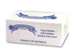 Whole Egg Pulp 10kg Box Frozen Free Range (Pasturised) Golden Eggs (Red Striped Box-FREE RANGE)