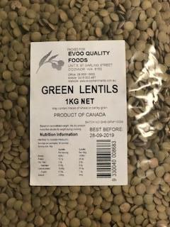 Green Lentils 1kg Bag Evoo QF
