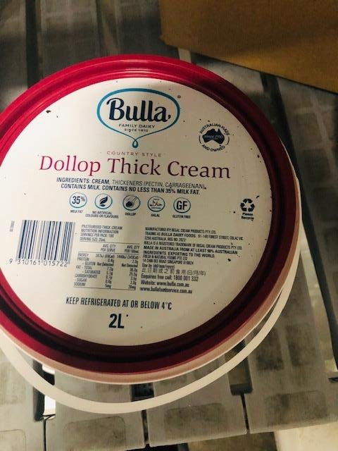 Thick Dollop Cream 2lt Bulla