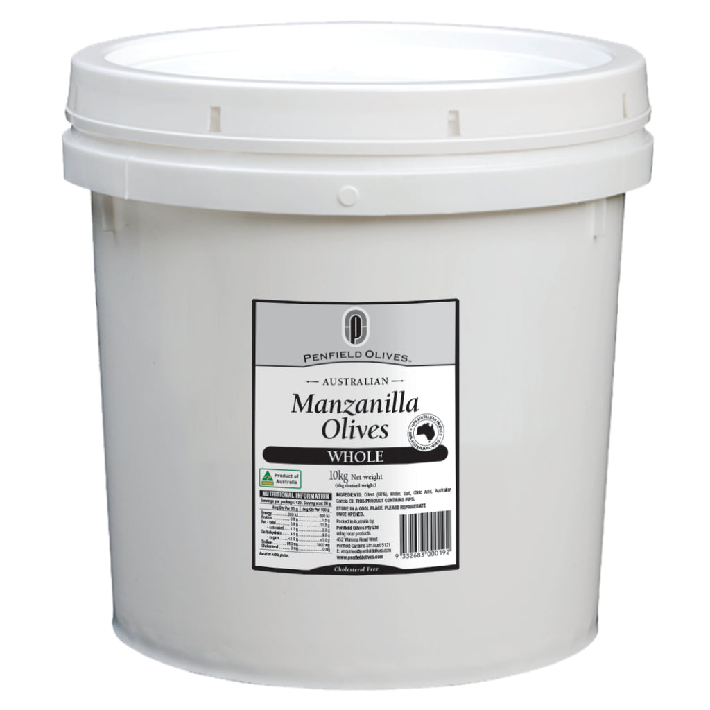 Manzanilla Whole Green Olives 10kg Tub Penfields