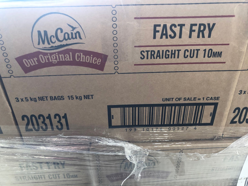 Straight Cut Fast Fries Chips 10mm 15kg Carton (203131) McCains