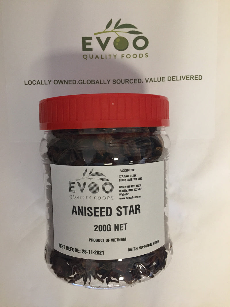 Star Anise whole 200g tub screwcap EVOO