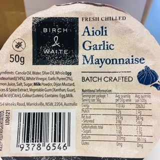 Mayonnaise Garlic Aioli Portion Control 90x50g Box Birch &  Waite