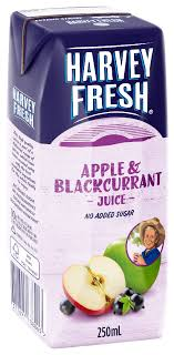 Apple and Black Currant Juice Real U H T (24 x 250ml) Carton Harvey Fresh