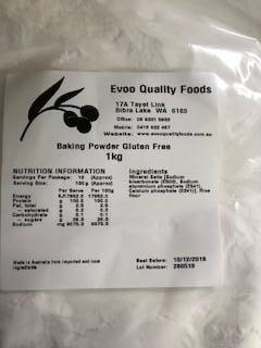 Baking Powder Gluten Free 1kg Bag EVOO QF