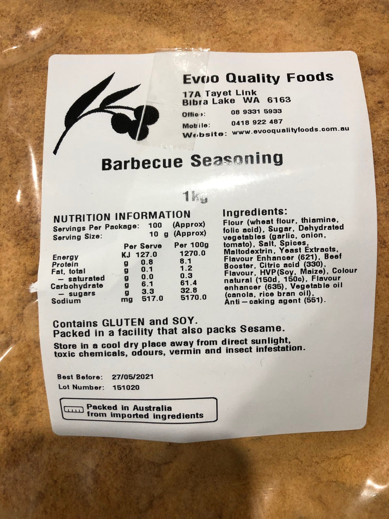 BBQ Seasoning 1kg Bag EVOO QF (Pre Order)