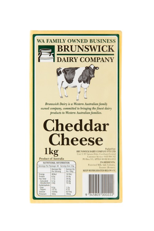 Cheddar Cheese 1kg Block Brunswick Dairy Company
