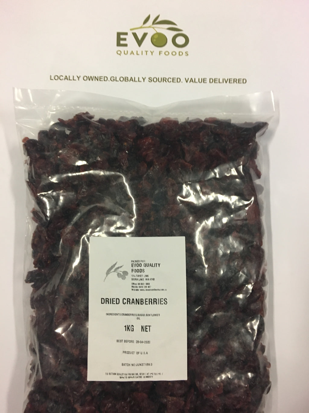 Cranberries Dried 1kg Bag EVOO QF